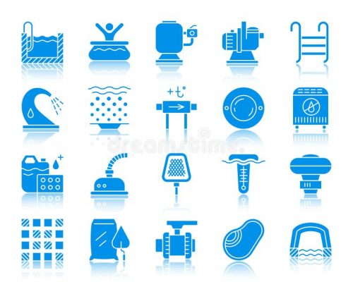 pool equipment color silhouette icons vector set swimming pool equipment silhouette icons set web sign kit construction repair 124743844
